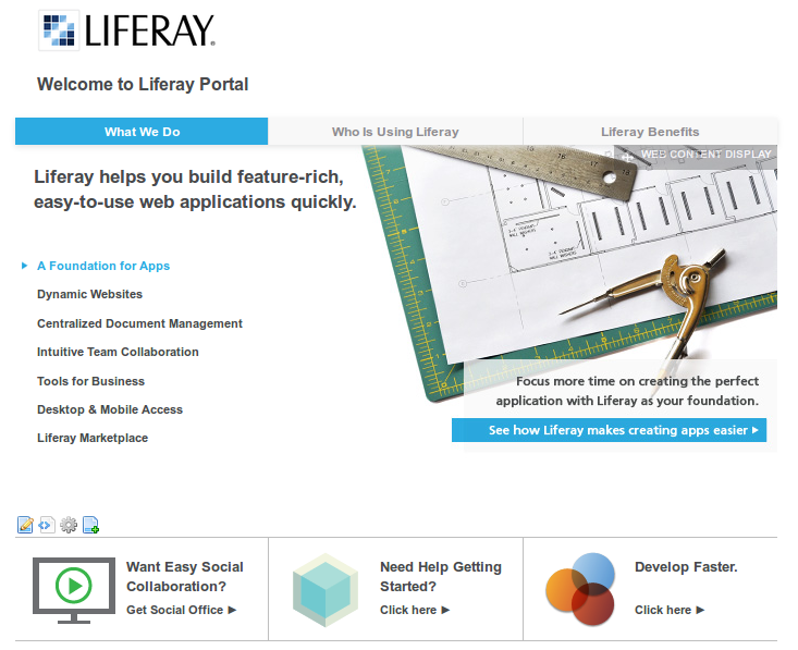 Figure 5.9: The welcome theme uses the resources importer to import pages and  content to the default site of a fresh Liferay  installation.