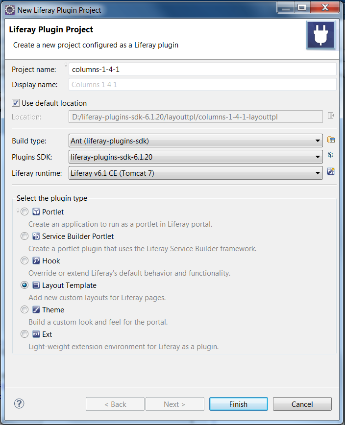 Figure 6.1: Creating a custom layout template project in Studio