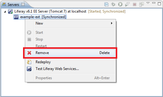 Figure 8.6: Removing Ext Plugin from the server