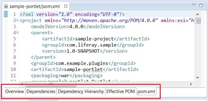 Figure 9.8: Liferay IDE provides five interactive modes to help you edit and organize your POM.