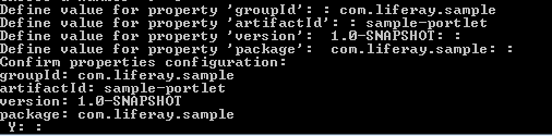 Figure 9.11: When creating your portlet plugin, you must enter your groupId, artifactId, version, and package properties.