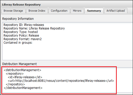 Figure 9.13: Select the <em>Summary</em> tab of your repository to see how to specify it for distribution management in your plugin's POM.