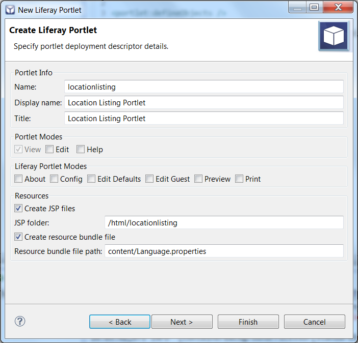 Figure 10.8: Liferay IDEs portlet creation wizard lets you specify the deployment descriptors for your portlets.