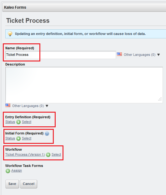 Figure 10.35: To test the ticket process workflow, create a new Kaleo Forms Processprovide a name, entry definition, and workflow.