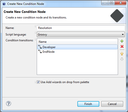 Figure 10.27: When creating a condition node, you can set your preferred script language, name, and condition transitions.