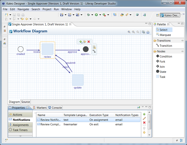 Figure 10.17: Kaleo Designer for Java gives you a powerful environment for designing, modifying, and publishing Kaleo workflows.