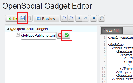 Figure 13.8: It is easy to insert gadget content into Liferays OpenSocial Gadget Editor and save it as an OpenSocial gadget.