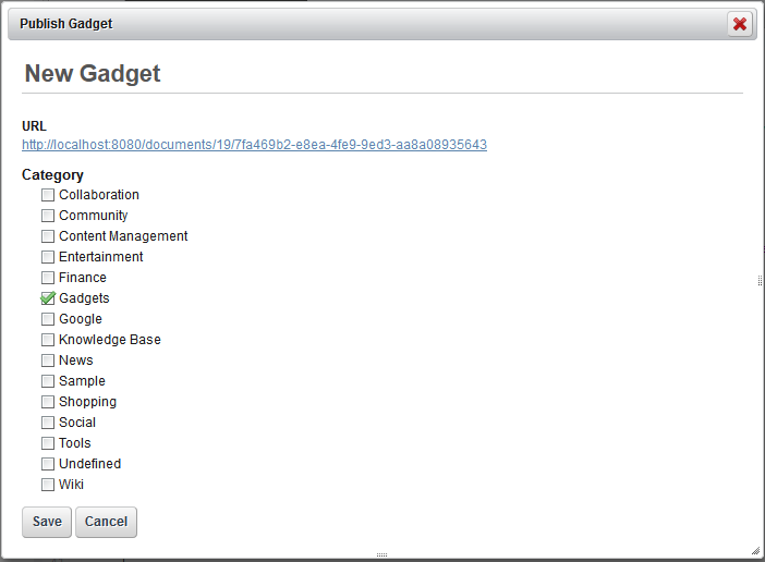 Figure 13.13: A Publish Gadget window displays your gadgets URL and a host of categories for you to consider for your gadget.