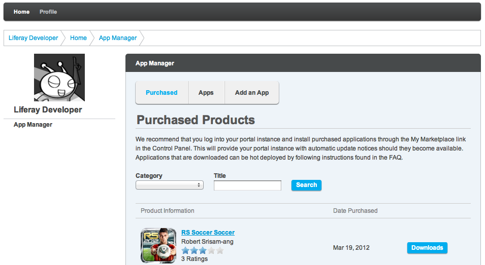 Figure 15.3: The App Manager lets you maintain everything about apps you've purchased or published.