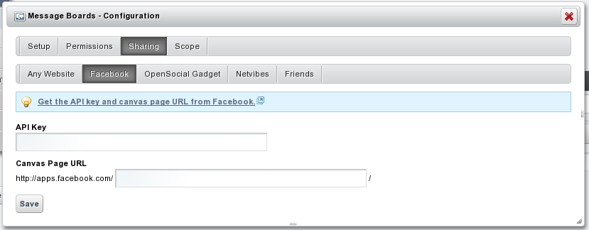 Figure 1.9: Any Liferay application can be published to multiple social networks with a few clicks.
