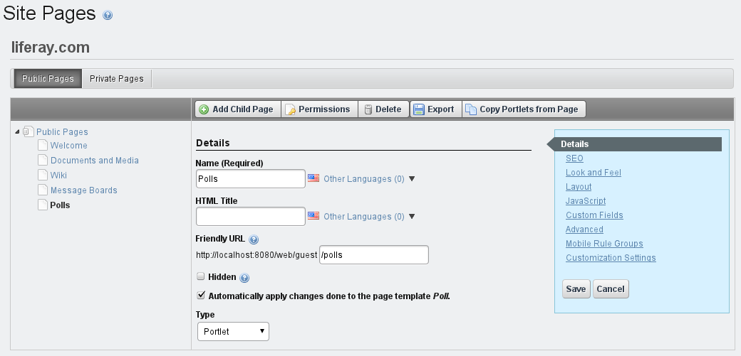 Figure 3.16: Choosing whether or not to automatically apply page template changes to live pages