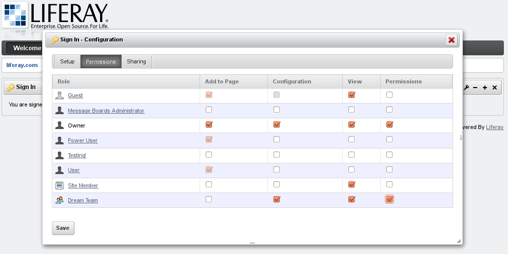 Figure 3.27: Assigning Portlet Permissions to a Team