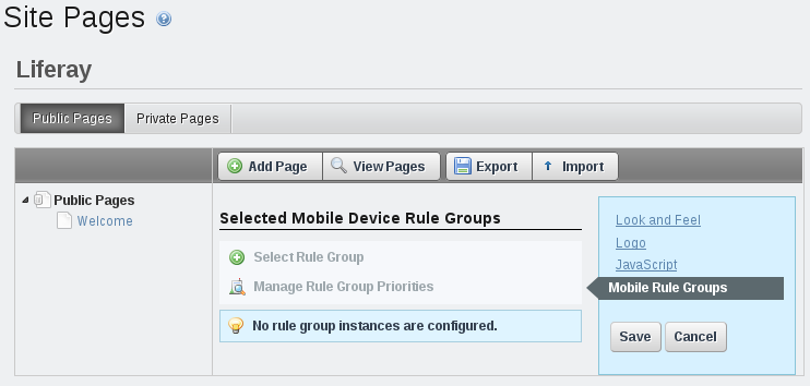 Figure 3.32: To apply a mobile device rule group to a page set of a site, select the site in the context menu selector, click on Mobile Rule Groups, click Select Rule Group, and select the desired rule group.