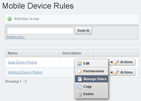 Figure 3.28: You can manage device rules from the Mobile Device Rules administrative page.