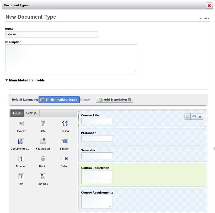Figure 4.4: Adding a New Document Type