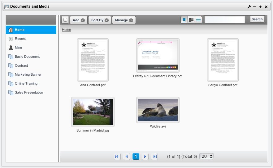 Figure 4.13: Previews in Documents and Media