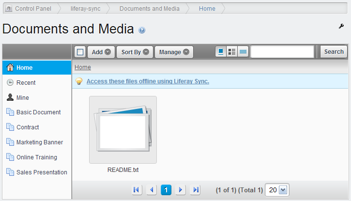 Figure 4.26: You can access the same files from Liferay Sync that you can from Liferays web interface.