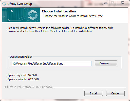 Figure 4.19: Use the Liferay Sync Installation wizard to choose an installation location.