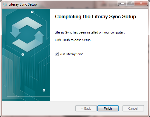 Figure 4.20: Youll see the following screen once Liferay Sync has been installed. Click Finish to exit the installation wizard.