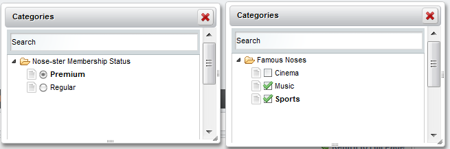 Figure 5.5: Single-valued vocabularies, on the left, use radio buttons while multi-valued vocabularies use checkboxes. .