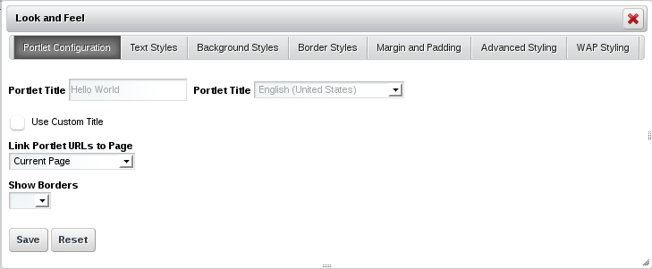 Figure 7.1: The Porlet Configuration tab of the Look and Feel Box allows you to define a custom portlet title, link porlet URLs to a specific page, and select whether or not portlet borders should be displayed.