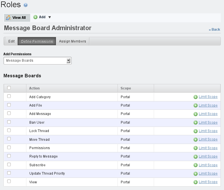 Figure 7.26: Defining Permissions for the Message Board Administrators Role