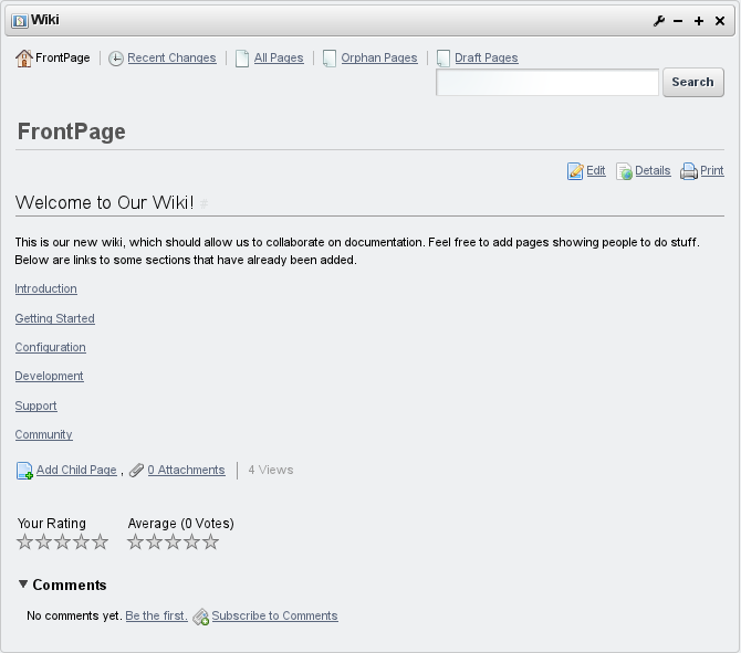 Figure 7.29: Wiki Text Added to Front Page