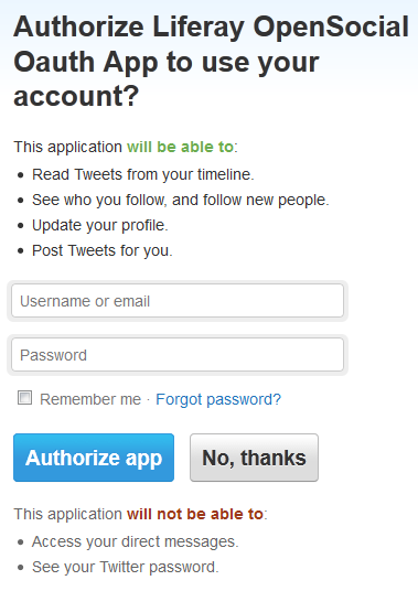 Figure 8.29: Authorizing your OpenSocial application to use your account is straightforward.