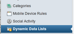 Figure 9.1: Data Lists in the control panel.