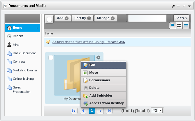 Figure 10.9: Workflow for Documents and Media must be enabled at the folder level. Edit a folder to select a workflow.