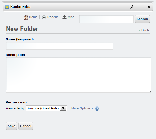 Figure 12.9: Its not necessary to enter a description for a Bookmarks folder.