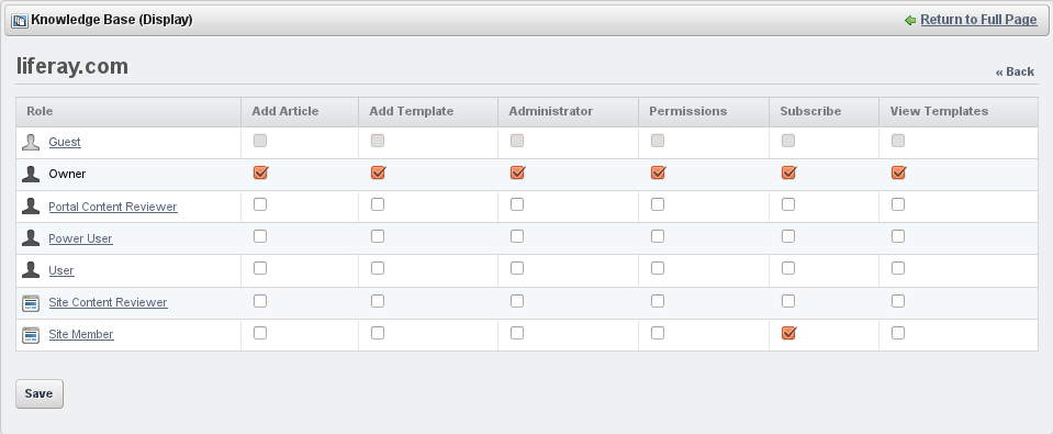Figure 12.34: Knowledge Base Permissions