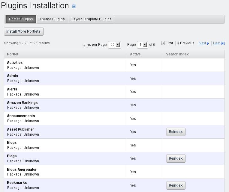 Figure 13.17: Plugins Installation Portlet Tab Default View