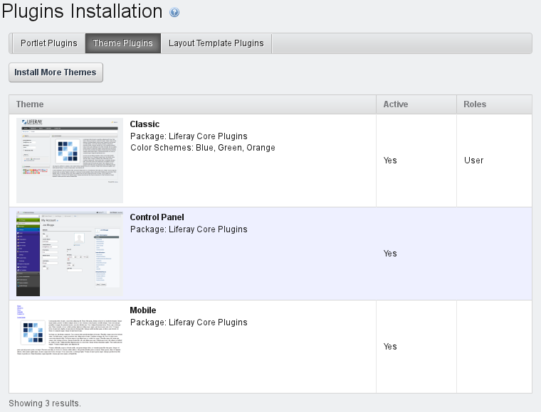 Figure 13.18: Plugins Installation Theme Tab Default View