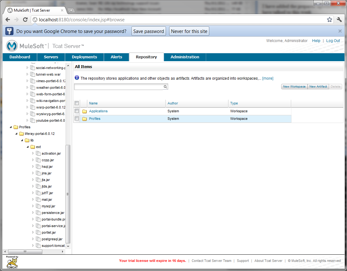 Figure 14.27: Tcat Repository profiles