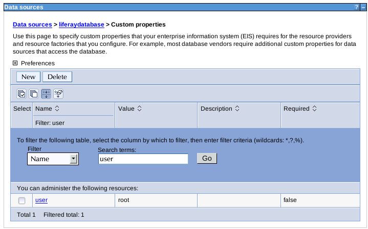 Figure 14.55: Modifying data source properties in WebSphere