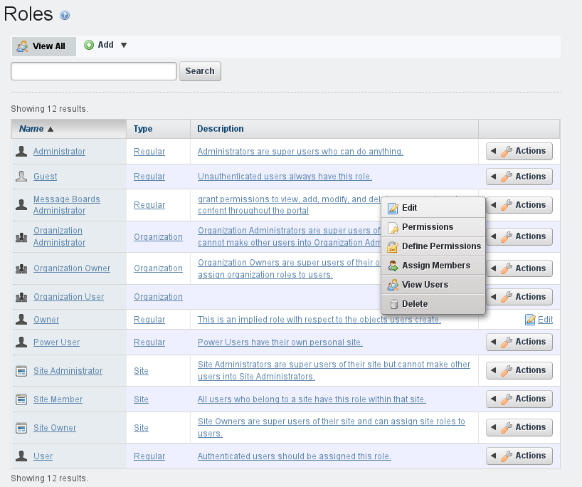 Figure 15.9: Roles Page and Role Actions Menu