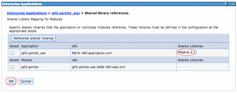 Figure 6: You can verify your Mojarra specification on the far right of the table, beneath the Shared Libraries heading.