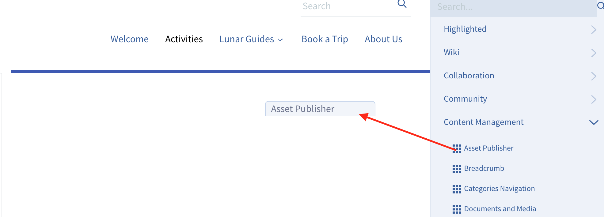 Figure 1: This screenshot shows the Asset Publisher being placed in the pages right column. The narrow blue bar indicates where the application will appear when you release the mouse button.