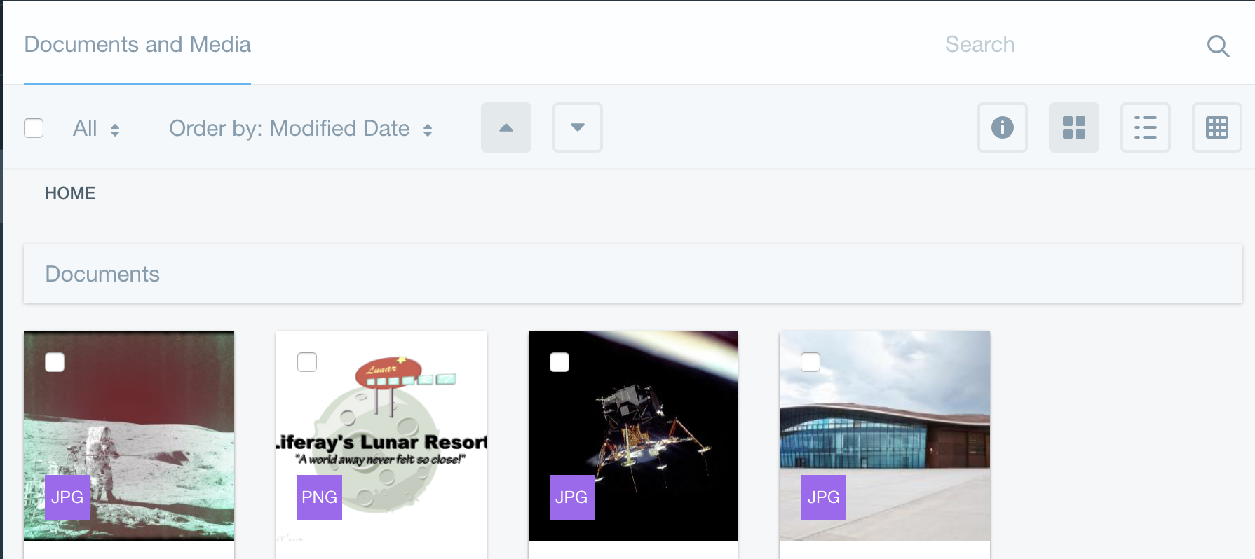 Figure 1: The Documents and Media librarys Home folder contains the Lunar Resorts existing images.