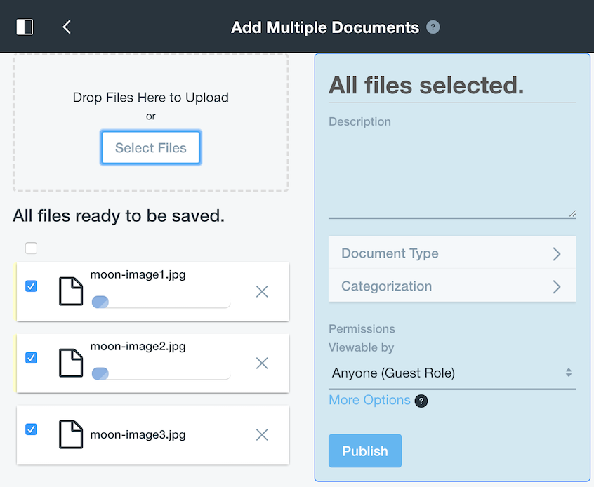 Figure 2: The Documents and Media library lets you add multiple documents at once.