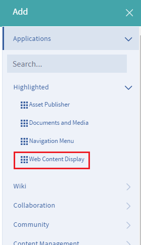 Figure 12: Add the Web Content Display app to a page to begin displaying your new web content article.