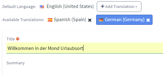 Figure 11: The Available Translations list lets you easily survey the current translations for the article.
