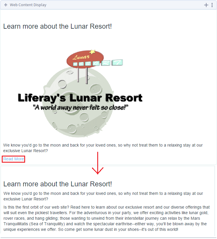 Figure 5: The initial and expanded views for the Lunar Resort News Article. After clicking Read More, youre able to read the full text body.