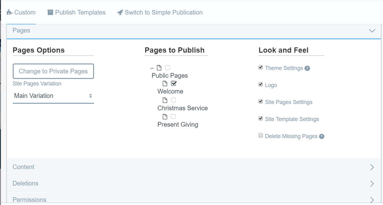 Figure 2: Youre given additional publication options for your pages, content, deletions, and permissions.