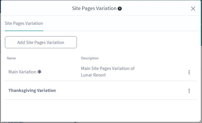 Figure 1: When selecting the Site Pages Variation link from the staging toolbar, youre able to add and manage your site pages variations.