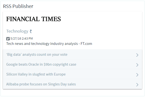 Figure 4: By default, the RSS Publisher app is configured to display feeds from the Financial Time. This image displays what the Financial Times feed looks like in the RSS Publisher app.