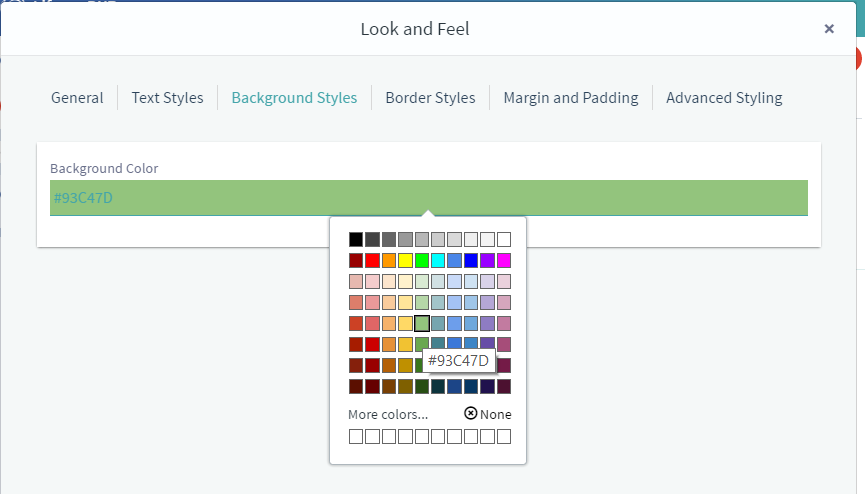 Figure 4: The Background Styles tab lets you specify the apps background color.
