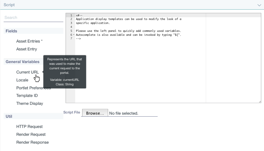 Figure 2: Liferay offers a versatile script editor to customize your ADT.