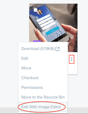 Figure 1: You can access the image editor through the Documents and Media repository.